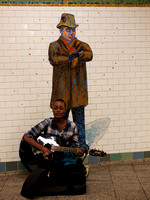 Busker, Times Square subway station