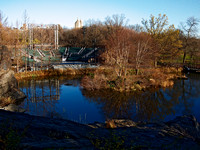 Turtle Pond and Delacourt Theater, late Autumn